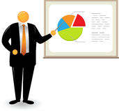 Orange Head Man_Pie chart Stock Photography