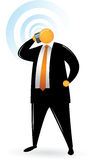 Orange Head Man using phone Stock Photography