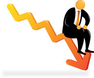 Orange Head sit on chart down. Orange Head Man with black suit sitting on the downtrend chart Stock Images