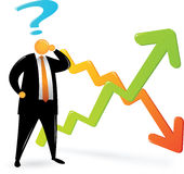Orange Head suit_confuse about chart. Orange Head Man with black suit confusing about chart Stock Photos