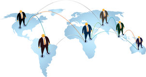 Orange Head suit connection in the world. Orange Head with black suit connected all around the world Stock Images