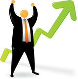 Orange Head suit_Two Hand Up with Chart Up. Orange Head wearing black suit, raising his two hands Stock Image