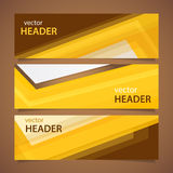 Orange headers. Set of abstract yellow banners, vector illustration Royalty Free Stock Image