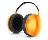 Orange headphones Stock Photography