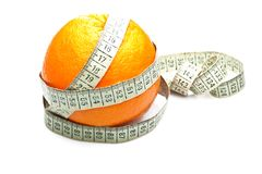 Orange health losing weight. On white background, studio shot Stock Photo