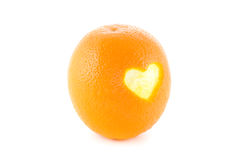 Orange heart Stock Photography