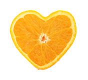 Orange heart. Orange cross section shaped like heart on white background Royalty Free Stock Photos