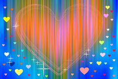 Orange heart and colorful hearts on abstract background Stock Photos