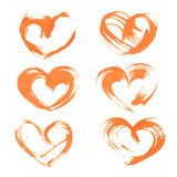 Orange heart drawn flat brush on the paper Royalty Free Stock Images