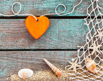 Orange heart with a nautical theme Stock Photography