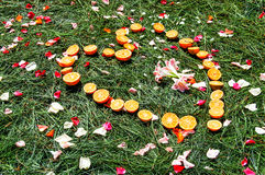 Orange heart on pine needles. Heart shape of oranges on pine needles scattered with rose petals. Part of a ceremonial carpet or alfombra in Holy Week processions Stock Photography