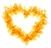 Orange fire heart on white Royalty Free Stock Photos