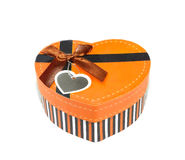 Orange Heart shaped box Royalty Free Stock Photo