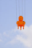 Orange heavy lift crane hook Stock Images
