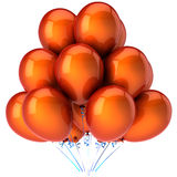 Orange helium balloons (Hi-Res). Orange glossy helium party balloons. Shiny and beautiful. This is a detailed 3D render.  Isolated on white Stock Images