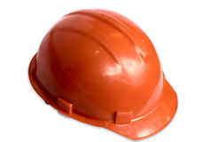 Orange helmet. On a white background it is isolated with clipping path Royalty Free Stock Photography