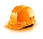 Orange helmet for builder worker. Illustration isolated on white background Stock Photography