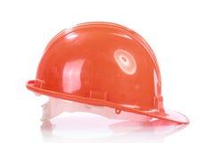 Orange helmet for builder worker. In white background Stock Photography