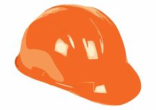 Orange helmet for builder worker Royalty Free Stock Photos
