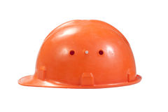 Orange helmet for builder worker. Isolated on white Stock Images