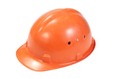 Orange helmet for builder worker isolated on white Royalty Free Stock Photos