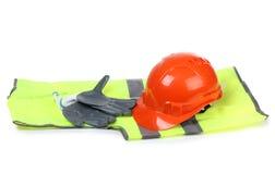 Orange helmet and gloves Stock Photo