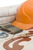 Orange helmet on the house project Stock Image