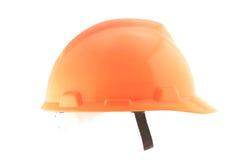 Orange helmet isolated on white Stock Photos