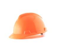 Orange helmet isolated on white Stock Images