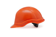 Orange helmet work on a white background Royalty Free Stock Image