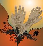 Orange Henna Illustration. Henna hands with floral / arabesque designs Stock Images