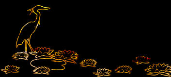 Orange Heron and Lotus Flower on Black Background Stock Photography