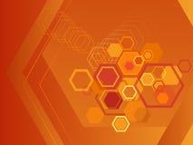 Orange hexagon background. Illustration of hexagons in orange backgrounds royalty free illustration