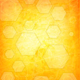 Orange hexagon on a grunge Royalty Free Stock Image