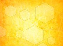 Orange hexagon on a grunge Royalty Free Stock Photography