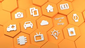 Orange hexagon towers with internet of things icons royalty free illustration