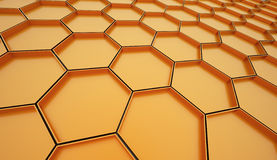 Orange hexagonal cells background Stock Images