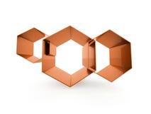 Orange hexagonal cells isolated on white Royalty Free Stock Photos