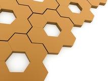 Orange hexagonal gears background Stock Photo