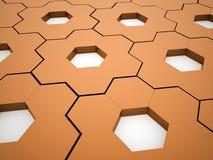 Orange hexagonal gears background Stock Images