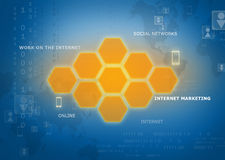 Orange hexagons located in an abstract background Royalty Free Stock Images