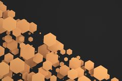 Orange hexagons of random size on black background. Abstract background with hexagons. Cloud of hexagons in front of wall. 3D rendering illustration Royalty Free Stock Images
