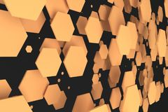 Orange hexagons of random size on black background. Abstract background with hexagons. Cloud of hexagons in front of wall. 3D rendering illustration Royalty Free Stock Image