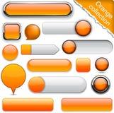 Orange hög-detaljerade moderna knappar. Royaltyfria Foton