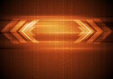 Orange hi-tech background with arrows Royalty Free Stock Photos