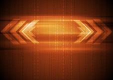 Orange hi-tech background with arrows Royalty Free Stock Photos