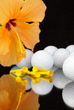 Orange hibiscus flower  and golf equipments on the glass table Stock Image