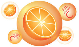 Orange high vitamin C vector Royalty Free Stock Photos