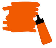 Orange highlighter pen with orange area for writing a message. Stock Images