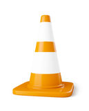 Orange highway traffic construction cone with white stripes isol Stock Photography